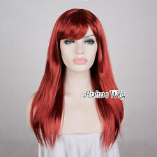 Women's Fashion 60CM Long Wine Red Straight Fancy Dress Cosplay Party Wig+Cap