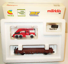 Märklin H0 46491 Niederbordwagen mit Feuerwehr Drehkran