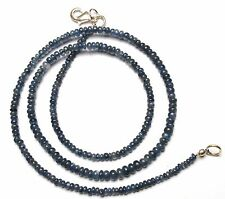 Natural Gem Burma Blue Sapphire Smooth 3-4MM Rondelle Beads Necklace 53Cts 17.5""
