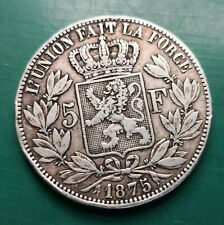 More details for 1875 belgium 5 francs silver coin 876