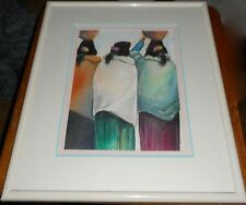 Framed Water Color Indian Women with Baskets