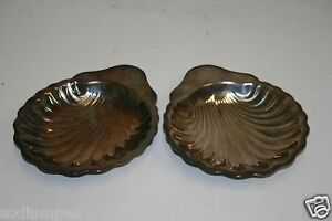 ONEIDA Silverplate Appetizer Plate Vintage Shell Shaped Tray Lot of 2