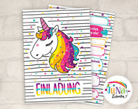 12 Einladungskarten Einhorn Einladungen zum Kindergeburtstag Einhorn bunt