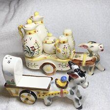 Vintage Pair 2 Handpainted Royal China Donkey Mule Condiment Carts