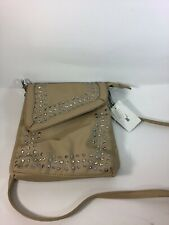 Cross Body Bag Purse With Stones and Studs Tan - F19