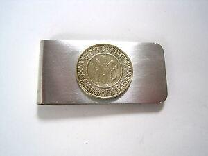Vintage solid brass subway token money clip~memories!