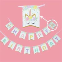 Unicorn Magic Banner Bunting Flag. Party Supplies Lolly Loot Bag Cake Decoration