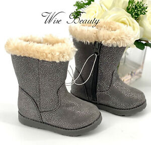 NEW Toddler Girl's Karley Boots Size 6 Shoe Grey Sparkle Cat & Jack