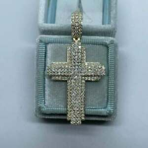 4Ct Round Cut Diamond Men's Cross Pendant 14K Yellow Gold Finish Free Chain
