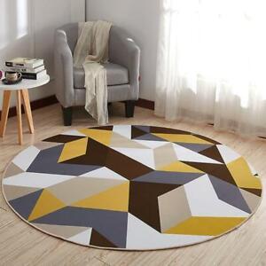 1 Pcs Carpet Yellow Brown Geometric Anti Slip Rugs Round Carpet Floor Decoration