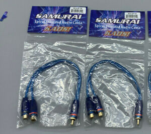 SAMURAI SCA-Y2F1M Spiral Shielded Cable Y Adapter 2 Female 1 Male 2F-1M LOT OF 2