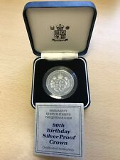 1990 Royal Mint Silver Proof £5 Crown Coin - Queens 90th Birthday