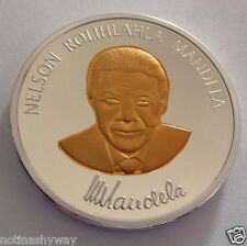 Nelson Mandela Silver Gold Coin Signed Great Man Hero Legend President U C RSA