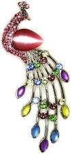 New Pink Sparkling Opal Rhinestone Crystal Peacock Pin Brooch