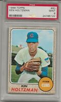 1968 TOPPS #60 KEN HOLTZMAN, PSA 9 MINT, SET BREAK -CHICAGO CUBS, L@@K !