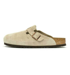 Men Birkenstock Boston Soft Footbed Leather Suede Clog Shoe Outdoor Slippers NEW