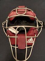 Adidas Pro Issue Baseball Catchers Umpires Mask Burgundy Silver S13292 NWT