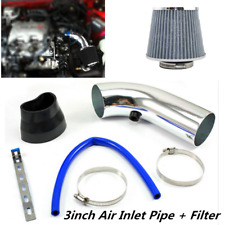 Silver 3'' Car Cold Air Intake System Turbo Induction Pipe Tube+Cone Air Filter