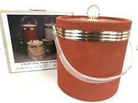 Vtg NOS 3qt Vinyl Suede Ice Bucket Gold Band Rust Orange Deco MCM Retro NIB