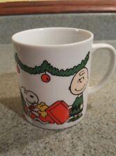 Vintage Peanuts characters Charlie Brown Snoopy Christmas coffee mug