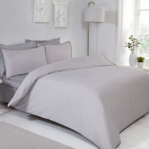 Luxury Contrast Piped Bedding Set Reversible Duvet Cover & Pillowcase - Double