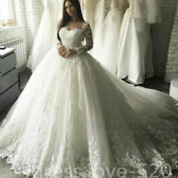 Princess Wedding Dresses Long Sleeve Lace Applique Ball Gown Plus Size Custom