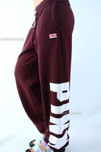 Victoria's Secret PINK Campus Sweat Pants Slouchy Fleece Logo NWT