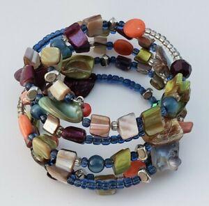 Wire Wrap Shell / Crystal / Bead Boho Bracelet