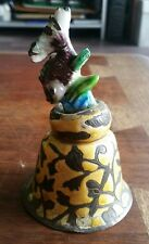 Vintage Chinese Etched Brass Cloisonne Enamel Bell Fish Handle Leaves Motif