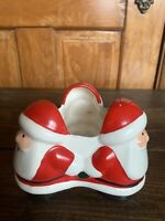 Vintage Inarco Japan Ceramic Santa Trio Christmas Planter Candy Holder