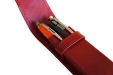 Etui für 3 Füller Kugelschreiber Bleistift, Schreibgeräte Rot Echt Leder (E3)