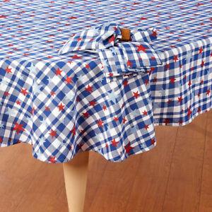 "Patriotic Decor 4th of July Tablecloth 60""x 84"" OBLONG Blue Plaid Star Overprint"