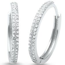 Round Micro Pave CZ .925 Sterling Silver Hoop Earrings
