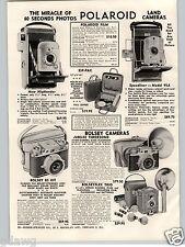 1956 PAPER AD Polariod Land Camera Speedliner Highlander Bosley 35MM