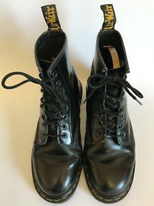 DR MARTENS Made In England Black Leather 8 Eyelet Boots UK 7