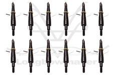 12 Pack Black Archery Hunting Broadheads 100 Grain with Case Arrow Head