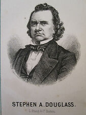 ANTIQUE STEPHEN A. DOUGLASS POLITICAL CDV SIZE CARD DEBATE OF LINCOLN PRANG MA