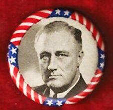 "GORGEOUS FRANKLIN D. ROOSEVELT CAMPAIGN PINBACK 1 1/4"" CELLULOID"