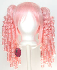 18'' Ringlet Pig Tails + Base Cotton Candy Pink Cosplay Lolita Wig NEW
