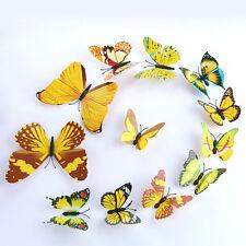 Amarillo de 12PCS Hágalo usted mismo Mariposa Pared Adhesivo Decoración Hogar Mariposa Habitación Pegatinas 3D