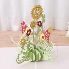 3D Pop Up Sunflower Flower Greeting Card Christmas Birthday New Year Invitation