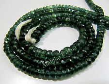 AAA Quality Natural Green Apatite Rondelle Faceted Beads , Size 4-5mm Strand 14""