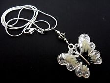 A TIBETAN SILVER WHITE BUTTERFLY  THEMED NECKLACE. NEW.