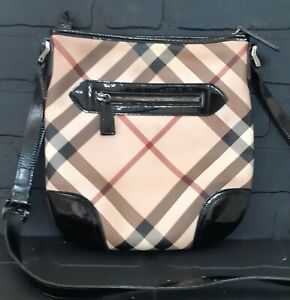 BURBERRY Patent Leather Nova Check Crossbody Bag