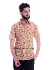 Mens Fashion Orange Floral Shirt Short Sleeve Casual Cotton Beach Summer S-XXL