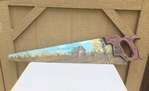 "Hand Painted Saw Disston 29"" Wood Handle Cabin Scene Signed Vintage Folk Art"