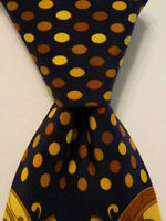 VITALIANO PANCALDI Silk Necktie ITALY Luxury POLKA DOT STRIPED Blue/Yellow EUC