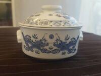 "Porcelain Dragon Dish Bowl Lid BLUE WHITE PORCELAIN Stoneware 4.75"" diameter"
