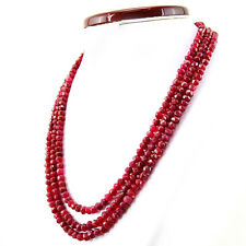 405.00 CTS EARTH MINED 3 STRAND RICH RED RUBY ROUND SHAPE FACETED BEADS NECKLACE
