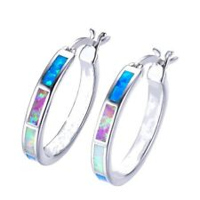 Fashion Jewelry rainbow Imitation Opal White CZ Silver Hoop Earring Gifts